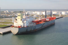 Gas tanker ship in port. A natural gas tanker ship in port awaiting it's cargo Royalty Free Stock Image