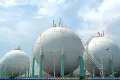 Gas tanks. Gas depot in Surabaya, East Java, Indonesia Stock Image