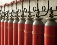 Gas tanks. Red gas tanks Stock Photos
