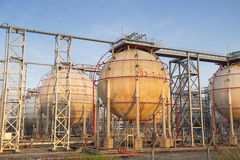 Gas tanks for petrochemical plant Royalty Free Stock Photos