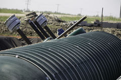 Gas tanks for station. These tanks are being buried to store gas for the station Royalty Free Stock Photography