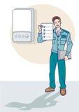Gas-Techniker Give ein Zertifikat Lizenzfreie Stockbilder