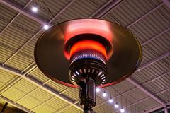 Gas terrace heater. Or patio heater under high roof stock photo