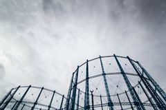 Gas towers. Two disused gas tower Royalty Free Stock Photo