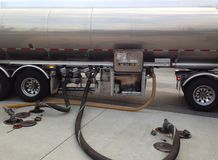 Gas truck. A gas truck fills an underground tank at a gas station Royalty Free Stock Photo