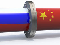 Gas tubes with russian and china flag Stock Images