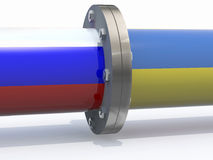 Gas tubes with russian and ukraine flag Stock Photography