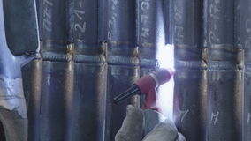 Gas tungsten arc welding close up stock footage