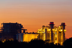 Gas turbine electrical power plant at dusk Royalty Free Stock Photos