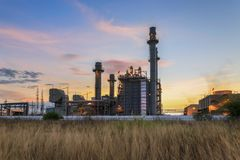 Gas turbine electrical power plant at dusk with blue sky Stock Images