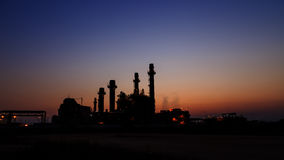 Gas turbine electrical power plant at dusk Stock Images
