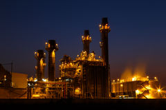 Gas turbine electrical power plant at dusk Stock Photo