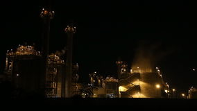 Gas turbine electrical power plant at dusk stock footage