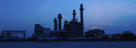 Gas turbine electrical power plant at dusk Royalty Free Stock Image