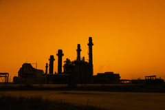 Gas turbine electrical power plant at dusk Stock Image