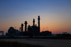 Gas turbine electrical power plant at dusk Royalty Free Stock Photography