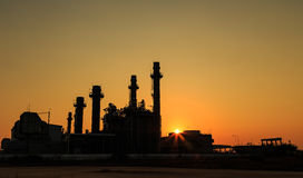 Gas turbine electrical power plant with sunset Royalty Free Stock Photos