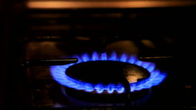 Gas. Turning on a gas stove stock footage