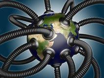 Gas- und Ölrohre befestigt zur Planetenerde stock abbildung