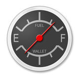 Gas Up Money Down. Gas gauge depicting gas rising and money falling vector illustration