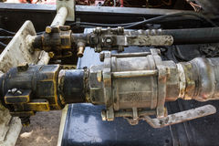 Gas valve at fuel gas LPG tanker Stock Photo