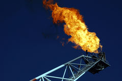 Gas Vent Flare 1. Unusable gas flares from an offshore oil & gas rig Royalty Free Stock Photography