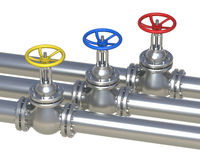 Gas, water, oil steel pipelines with valve. Isolated on white - 3D illustration royalty free illustration