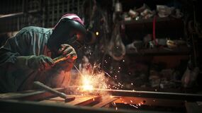 Free Gas Welding With Workpiece Steel.working Person In Factory Industry. Stock Images - 172350744