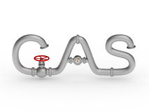 Gas word from pipes Stock Photo