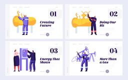 Gas Worker Control Pipeline at Plant Set Landing Page. Gasman Engineering Pipe. Man Check Manometer and Valve. Woman Maintenance Factory Website or Web Page stock illustration