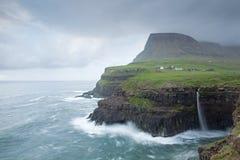 Gasadalur Faroe Island, VÃ-¡ gar Royaltyfri Foto