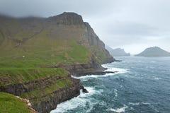 Gasadalur Faroe Island, VÃ-¡ gar Arkivbilder