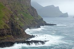 Gasadalur Faroe Island, VÃ-¡ gar Royaltyfria Bilder