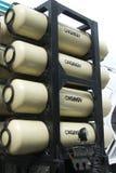 Gasbehälter auf schwerem LKW Stockfotos