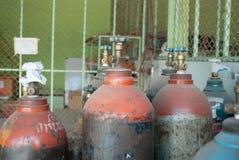 Gasbehälter für das Schweißen Stockfoto