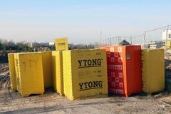 Gasbeton- und Schlackenblöcke der Welt brennen Ytong ein Lizenzfreies Stockbild