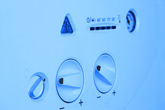 Gasboiler2. Gas boiler panel on a blue background Stock Images