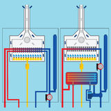 Gasboilers met warmtewisselaar Stock Foto's