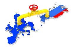 Gaseoducto sobre mapas de la unión rusa y europea ilustración del vector