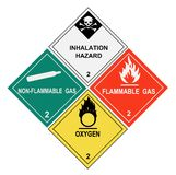 Gases Warning Labels. United States Department of Transportation class 2 gases warning labels isolated on white Royalty Free Stock Photo