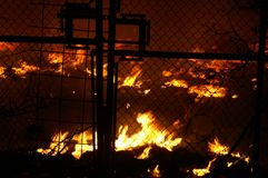 Gasexplosie, brand en vernietiging, groot incident, royalty-vrije stock afbeelding