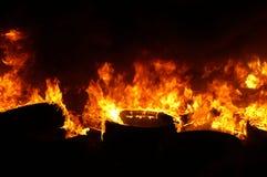 Gasexplosie, brand en vernietiging, groot incident, royalty-vrije stock foto
