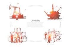 Gasfabrik, arbetare p royaltyfri illustrationer