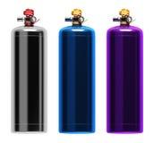 Gasflaschen in den verschiedenen Farben Lizenzfreie Stockbilder