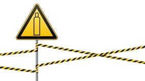 Gasfles De aandacht is gevaarlijk Meer ondertekent in mijn portefeuille Veiligheidstechnologie Driehoekig teken op de pijler en b stock illustratie