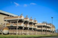 Gasformigt grundämnebehållare i fabriken, North Yorkshire Royaltyfria Foton