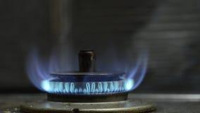 Gasfornuis blauwe vlam stock videobeelden