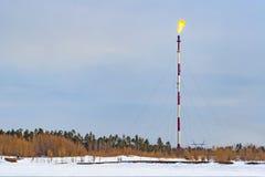 Gasfornuis op een hoge pijp bij een installatie van de gasverwerking stock fotografie