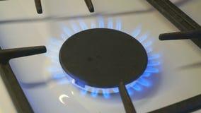 Gasfornuizen één branden blauwe vlam op een gasfornuis stock videobeelden