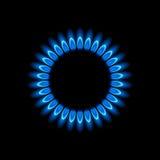 Gasgasbrännare, blå flamma Royaltyfri Foto